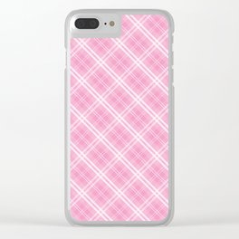 Bright Chalky Pastel Magenta and White Tartan Plaid Check Clear iPhone Case