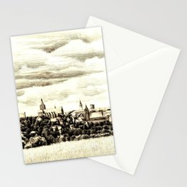 PANORAMA OF A GOTHIC CITY CHELMNO IN POLAND MADE IN FIGURATIVE STYLE Stationery Cards