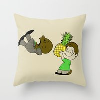 psych Throw Pillows featuring Psych! by AriesNamarie