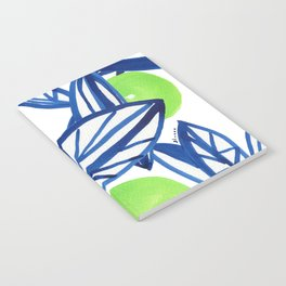 Blue and lime green abstract apple tree Notebook