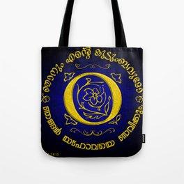 Joshua 24:15 - (Gold on Blue) Monogram O Tote Bag