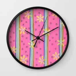 Daisey Stripe on Pink Wall Clock