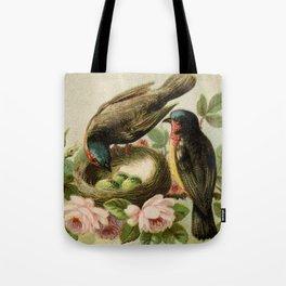 Vintage Birds with Nest Tote Bag