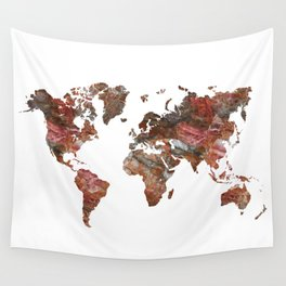 Siena Rosso Marble World Map Wall Tapestry
