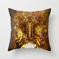 ganesha Throw Pillows featuring Ganesha by Giorgio Finamore