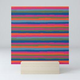 Pinking shears colorful stripes Mini Art Print