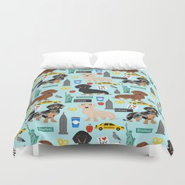Dachshund dog breed NYC new york city pet pattern doxie coats dapple merle red black and tan Duvet Cover