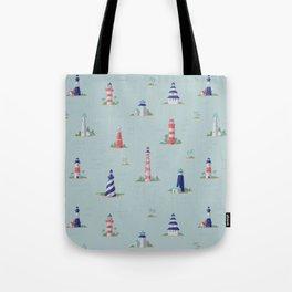 Nautical Lighthouses Coastal Print Tote Bag