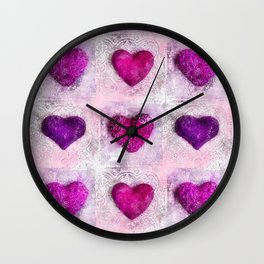 Pink Passion colorful heart pattern Wall Clock