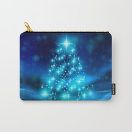 Cool Blue Christmas Tree with Sparkling Lights Carry-All Pouch