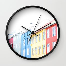 Colorful Reykjavik Homes Wall Clock
