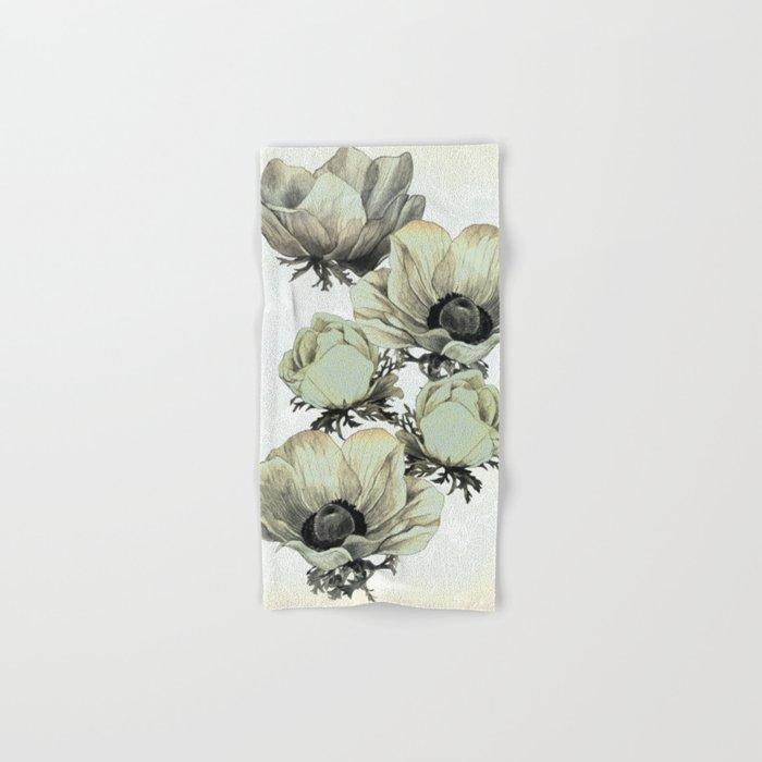 anemone flowers (white background) Hand & Bath Towel