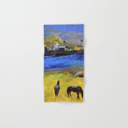 Horses in the Meadow, Carmel, California coastal landscape painting by George Wesley Bellows Hand & Bath Towel