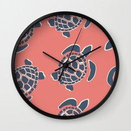 Lu's Pink Sea Turtles Wall Clock