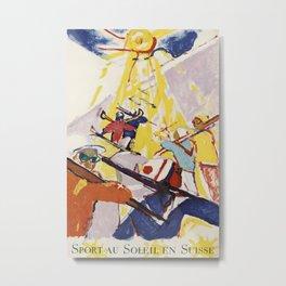 Sport au Soleil en Suisse Vintage Travel Poster Metal Print