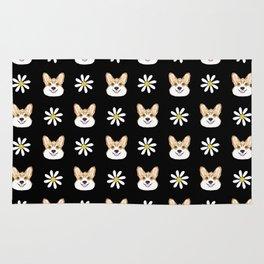 Corgi welsh corgi daisy flowers spring summer florals dog breed pet portrait by pet friendly Rug