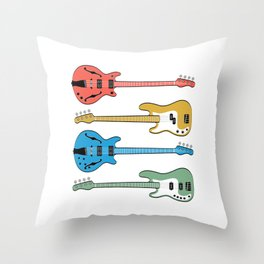 """A Musical Tee For Musicians With Illustration Of """"Bass Guitars In Different Colors"""" T-shirt Design Throw Pillow"""