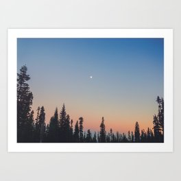 High Moon over Silhouetted Trees at Dusk Art Print