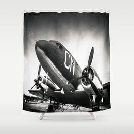 C-47D Skytrain Black and White Shower Curtain