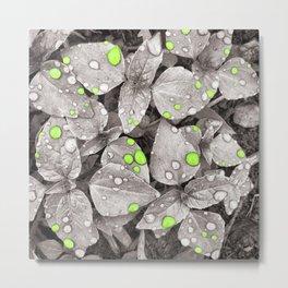 Green Rain Falling Metal Print
