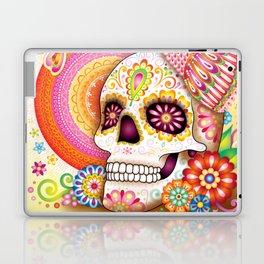 Sugar Skull with Owl Art - Day of the Dead Skull Art by Thaneeya McArdle Laptop & iPad Skin