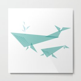 Blue Whale with Baby : Geo Menagerie Series Metal Print