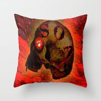 anarchy Throw Pillows featuring ANARCHY - 005 by Lazy Bones Studios