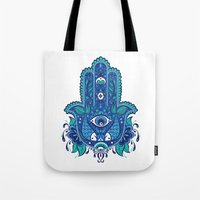 hamsa Tote Bags featuring Hamsa by Miss Chat*Z