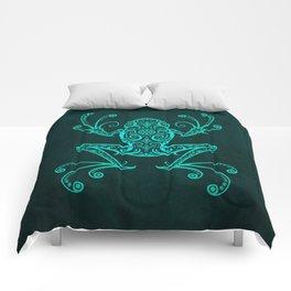 Intricate Teal Blue Tree Frog Comforters
