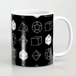 Black Dungeons and Dragons Dice Set Pattern Coffee Mug