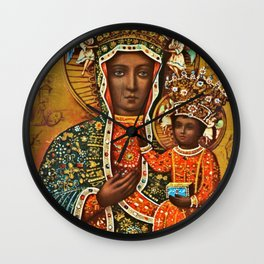Our Lady Of Czestochowa Black Virgin Mary Madonna Wall Clock