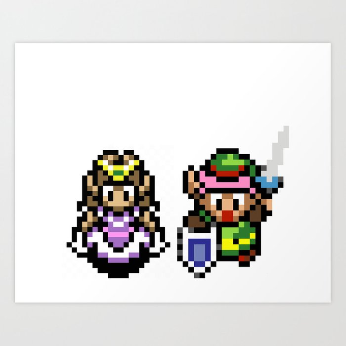 Zelda and Link Art Print