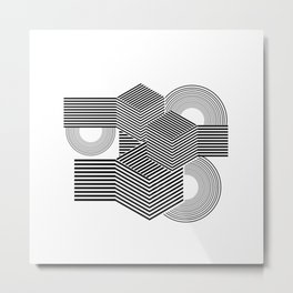 Minimal geometric black abstract Metal Print