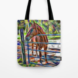 Abstract horse standing at gate Tote Bag