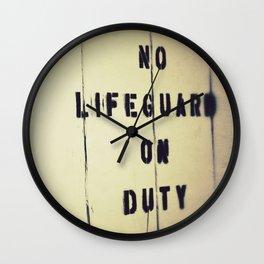 No Lifeguard on Duty Wall Clock