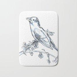 Singing Bird, watercolor Bath Mat