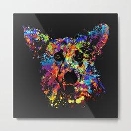 Colorful  Corgi Portrait Metal Print