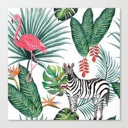 Tropical Pattern with Palm Leaves, Zebra and Flamingo Canvas Print