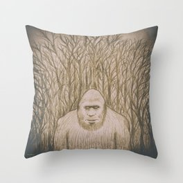 Sasquatch in the woods Throw Pillow