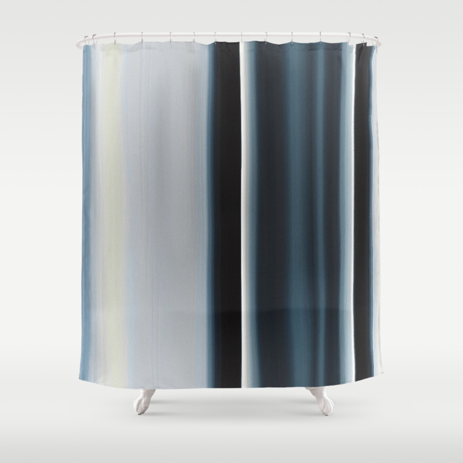 Vertical Blue And White Stripes Shower Curtain