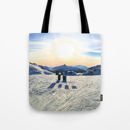 The snow, signs, shadows, sun, sky - and the surrounding! Tote Bag