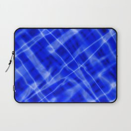 Pastel metal mesh with blue intersecting diagonal lines and stripes. Laptop Sleeve
