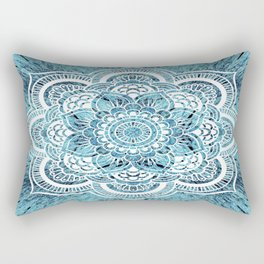 Aqua Turquoise Mandala Rectangular Pillow