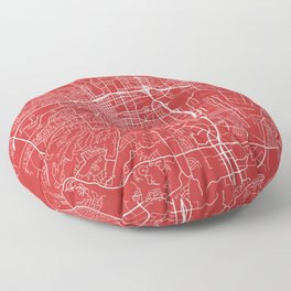 Reno Map, USA - Red Floor Pillow