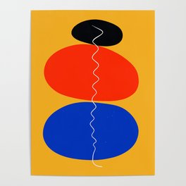 Zen minimal abstract art yellow blue red black Poster