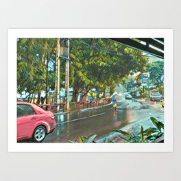 Grand Baie street, rain Art Print