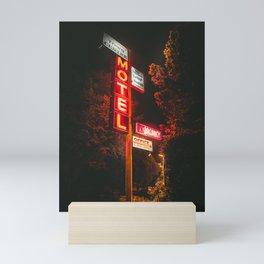 Motel at night Mini Art Print