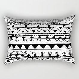 Hand painted black white watercolor aztec pattern Rectangular Pillow
