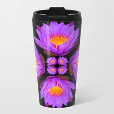 Purple Lily Flower - On Black Metal Travel Mug