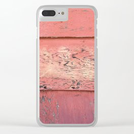 Weathered Red Siding Clear iPhone Case